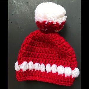 Other - HAND CROCHETED BABY GIRL/BOY RED & WHITE HAT